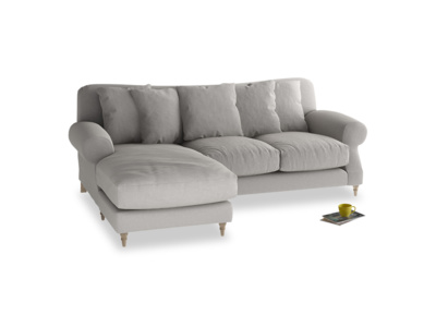 Large left hand Crumpet Chaise Sofa in Wolf brushed cotton