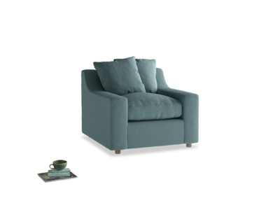 Cloud Armchair in Marine washed cotton linen