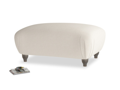 Rectangle Homebody Footstool in Buff brushed cotton