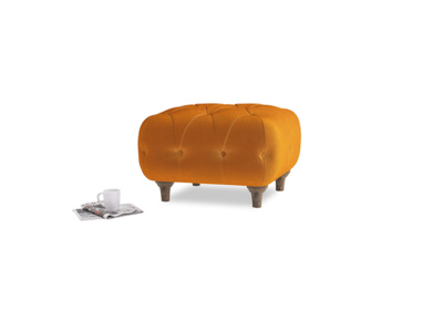 Small Square Dimple Footstool in Spiced Orange clever velvet