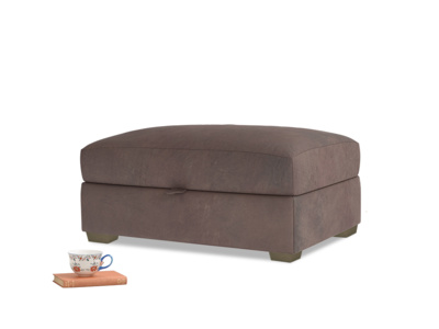 Bumper Storage Footstool in Dark Chocolate beaten leather