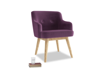 Smudge Armchair in Grape clever velvet