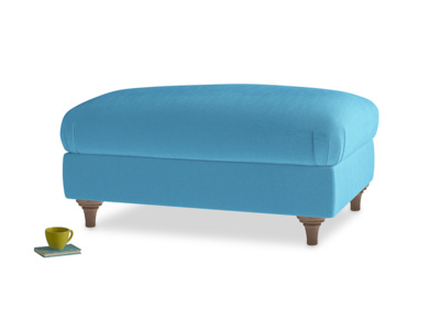 Rectangle Wet Dog Footstool in Teal Blue plush velvet