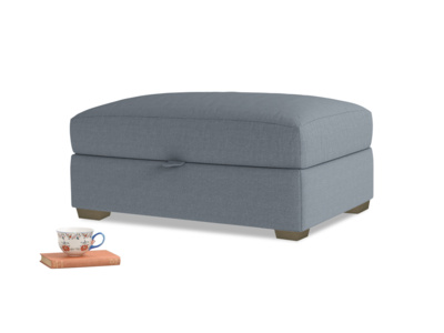 Bumper Storage Footstool in Blue Storm washed cotton linen