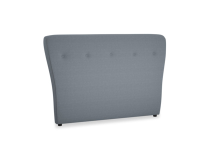 Double Smoke Headboard in Blue Storm washed cotton linen