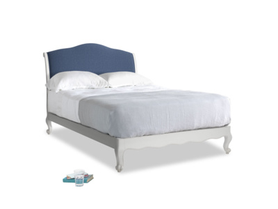Double Coco Bed in Scuffed Grey in Navy blue brushed cotton