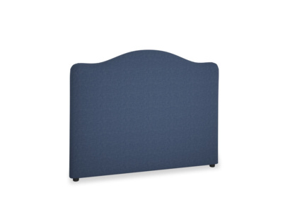 Double Luna Headboard in Navy blue brushed cotton