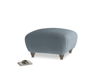 Small Square Homebody Footstool in Mermaid plush velvet