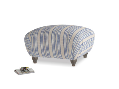 Small Square Homebody Footstool in Brittany Blue french stripe