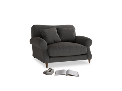 Crumpet Love seat in Old Charcoal brushed cotton