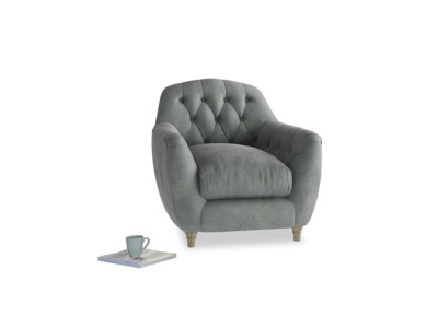 Butterbump Armchair in Faded Charcoal beaten leather