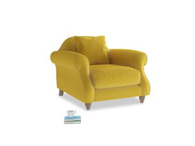 Sloucher Armchair in Bumblebee clever velvet