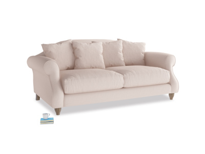 Medium Sloucher Sofa in Faded Pink brushed cotton