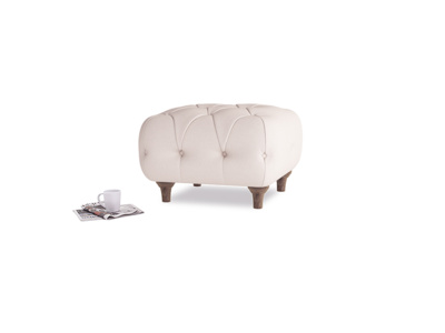 Small Square Dimple Footstool in Faded Pink brushed cotton