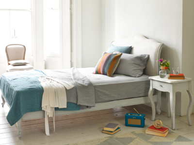 Coco French style upholstered wooden bed painted in a beautiful Scuffed Grey