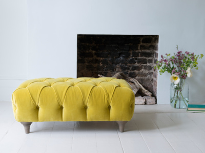 Upholstered Dimple rectangle handmade chesterfield footstool