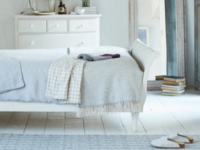 Herringbone print Grey Belle wool bed throw and blanket