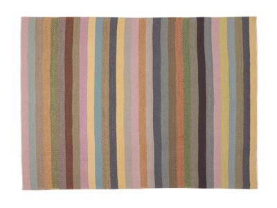 Tuppence woven herringbone striped handmade rug