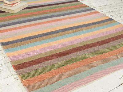Hand woven Tuppence striped herringbone handmade rug