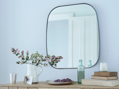 Albie large square industrial wall mirror