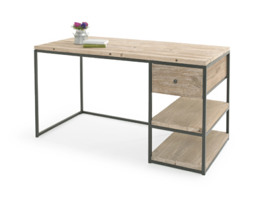 Industrial wooden den home office study and writing desk