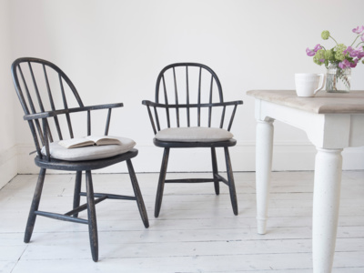 Wooden Chuckler farmhouse kitchen chairs