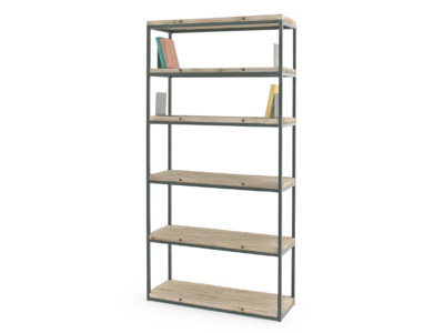 Industrial style High Five wooden shelving unit
