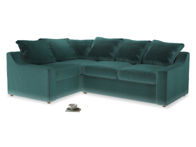 Large left hand Cloud Corner Sofa Bed in Real Teal clever velvet