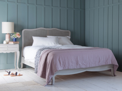 French vintage style Margot bed painted in our scuffed grey with rattan headboard