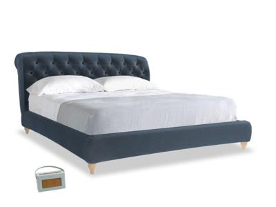 Superking Dozer Bed in Liquorice Blue clever velvet
