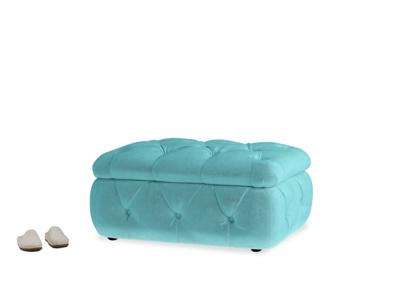 Rectangle Stasher Storage Footstool in Belize clever velvet