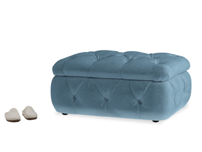 Chesterfield upholstered buttoned storage footstool