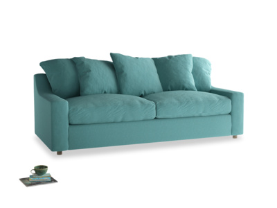 Large Cloud Sofa Bed in Peacock brushed cotton