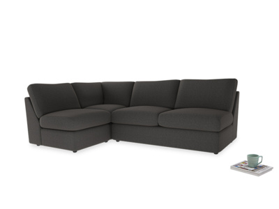 Large left hand Chatnap modular corner sofa bed in Old Charcoal brushed cotton