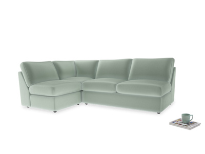 Large left hand Chatnap modular corner sofa bed in Mint clever velvet