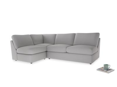 Large left hand Chatnap modular corner sofa bed in Flint brushed cotton