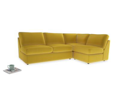 Large right hand Chatnap modular corner sofa bed in Bumblebee clever velvet