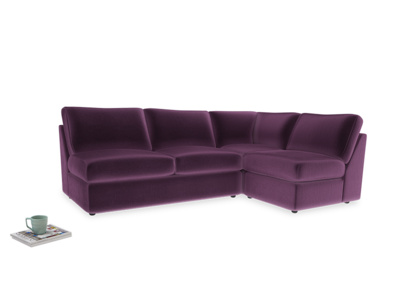 Large right hand Chatnap modular corner sofa bed in Grape clever velvet