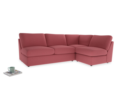 Large right hand Chatnap modular corner sofa bed in Raspberry brushed cotton