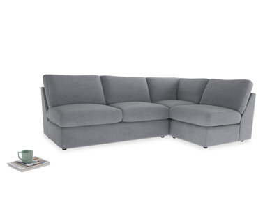 Large right hand Chatnap modular corner sofa bed in Dove grey wool
