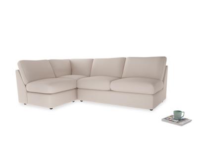 Large left hand Chatnap modular corner storage sofa in Faded Pink brushed cotton