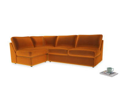 Large left hand Chatnap modular corner storage sofa in Spiced Orange clever velvet