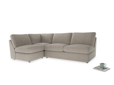 Large left hand Chatnap modular corner storage sofa in Birch wool