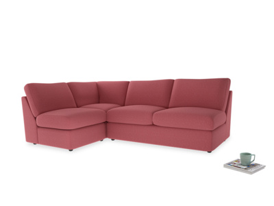 Large left hand Chatnap modular corner storage sofa in Raspberry brushed cotton