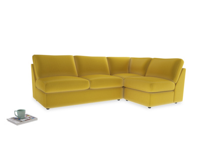 Large right hand Chatnap modular corner storage sofa in Bumblebee clever velvet