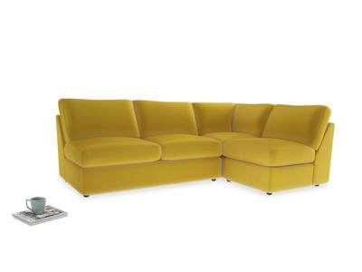 Large right hand Chatnap modular corner storage sofa in Bumblebee clever velvet