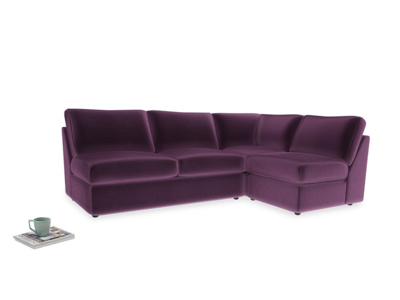 Large right hand Chatnap modular corner storage sofa in Grape clever velvet