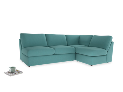 Large right hand Chatnap modular corner storage sofa in Peacock brushed cotton