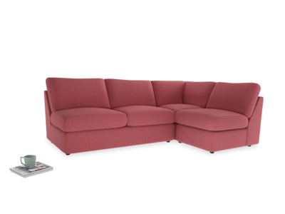 Large right hand Chatnap modular corner storage sofa in Raspberry brushed cotton