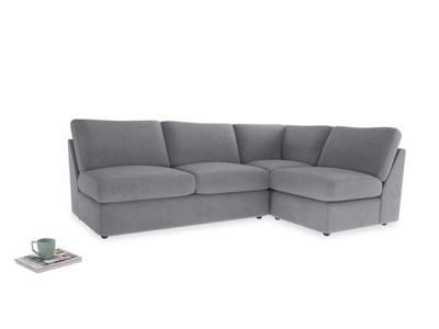 Large right hand Chatnap modular corner storage sofa in Dove grey wool